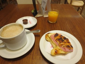 Breakfast, served with a random chocolate and complimentary juice